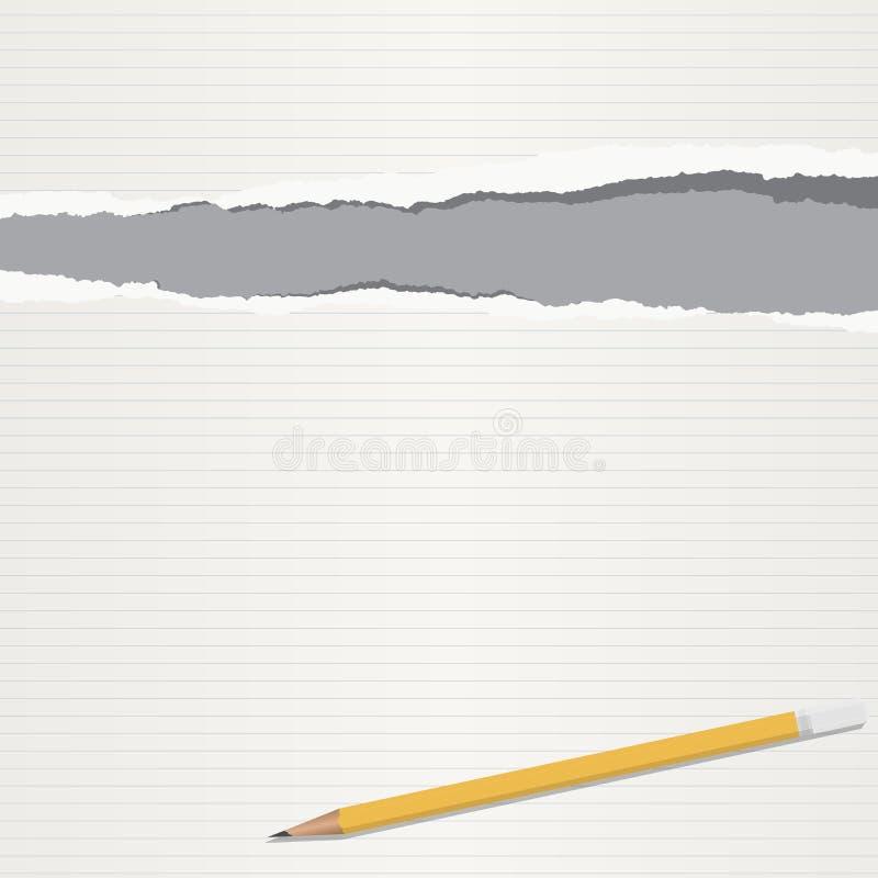 被排行的白色剥去了笔记本纸板料、在灰色背景困住的笔记文本的或消息与铅笔 库存例证