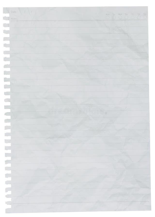 被排行的纸或笔记本纸被弄皱的板料  免版税库存图片
