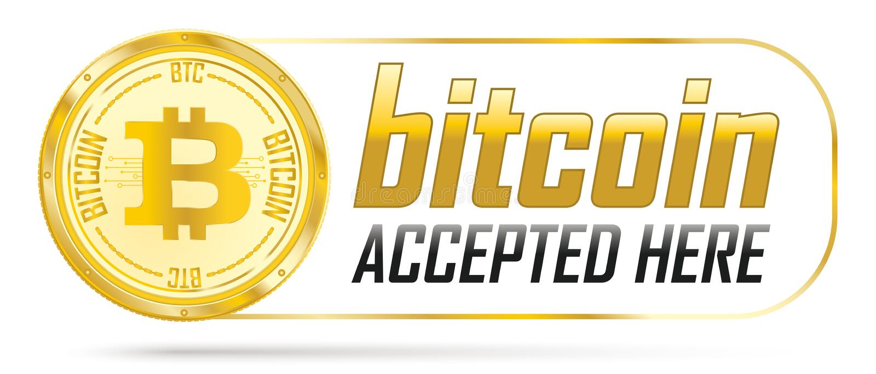 被接受的金黄Bitcoin这里 库存例证