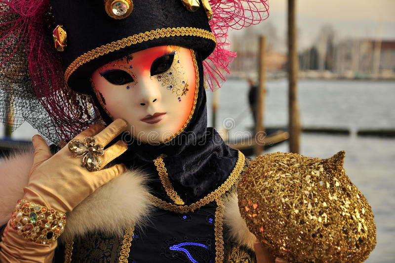 被掩没的妇女惊人的画象威尼斯狂欢节的 库存照片
