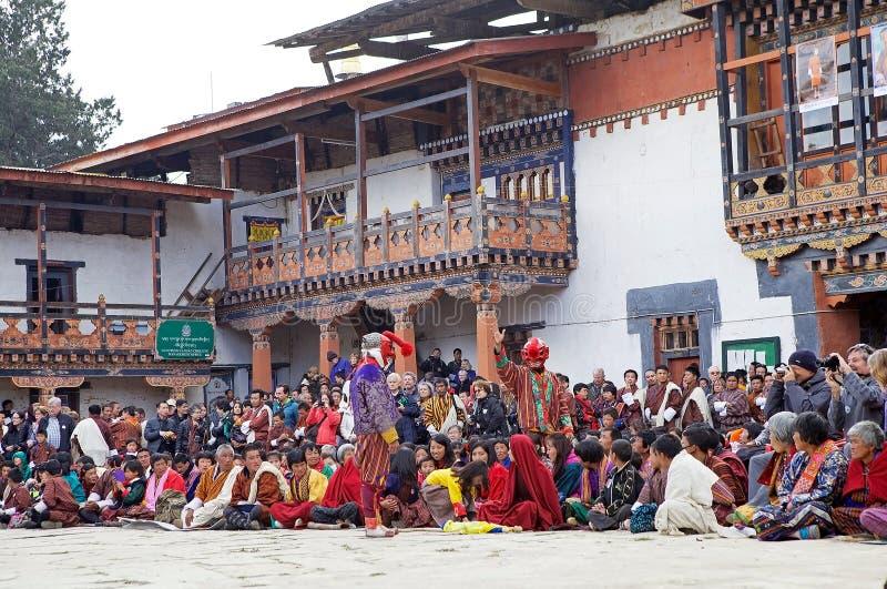 被掩没的小丑和人Gangtey修道院的, Gangteng,不丹 免版税库存照片
