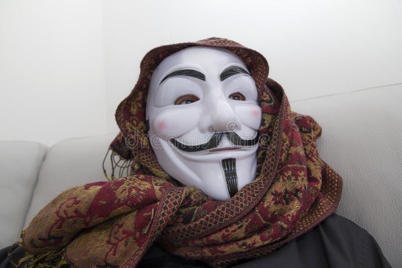 被掩没的黑客匿名 免版税图库摄影