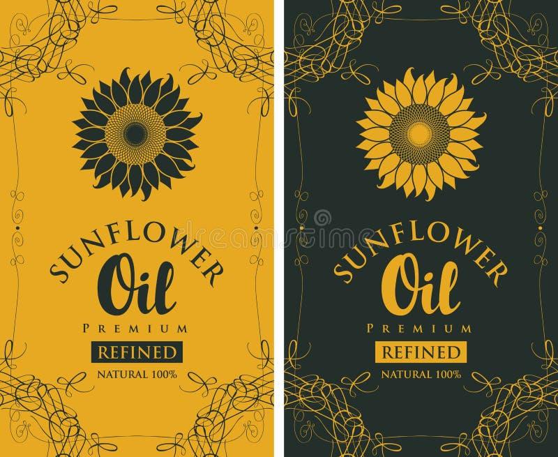 被提炼的向日葵油的集合标签与curlicue 向量例证