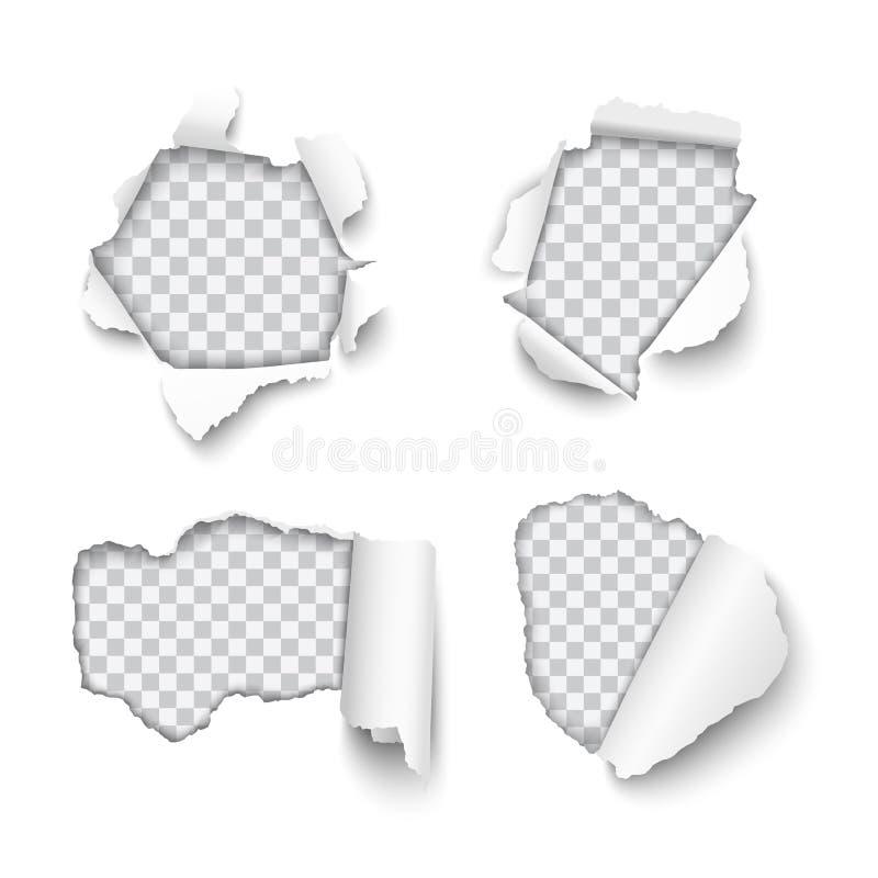 被撕毁的传染媒介套各种各样的孔在与滚动的边缘isol的纸 向量例证