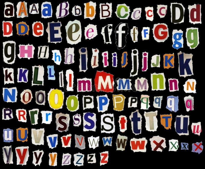 被撕毁的字母表 库存例证