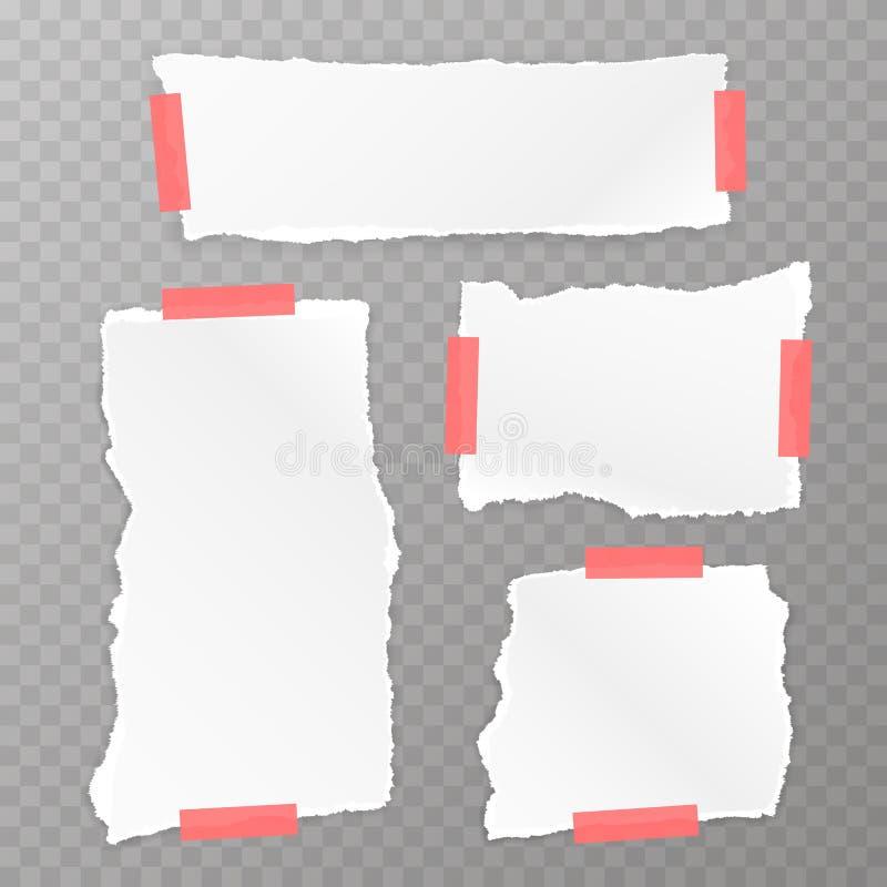 被撕毁的方格纸集合 向量例证