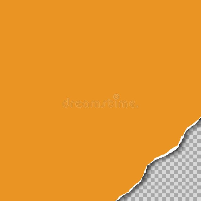 被撕毁的橙色纸的现实例证与被撕毁的角落的 在透明背景,传染媒介 库存例证