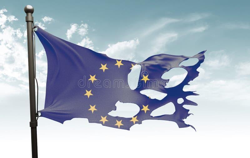 被撕毁的欧洲旗子 免版税图库摄影