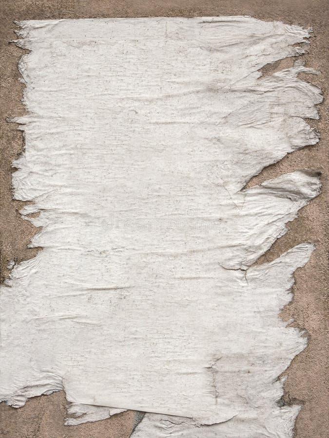 被撕毁的白色海报纹理,也许使用作为背景 免版税图库摄影
