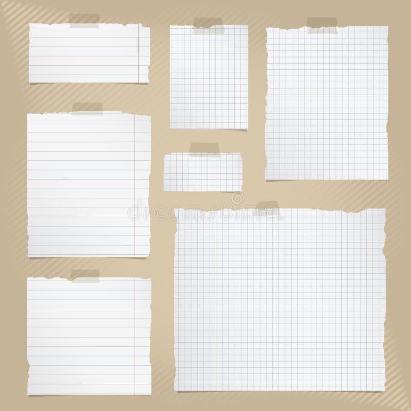 被撕毁的白色片断摆正了并且排行了与稠粘的磁带的笔记本纸在棕色镶边背景 向量例证