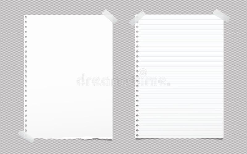 被撕毁的空白和被排行的白色笔记,文本的笔记本纸板料黏附了与灰色稠粘的磁带在被摆正的背景