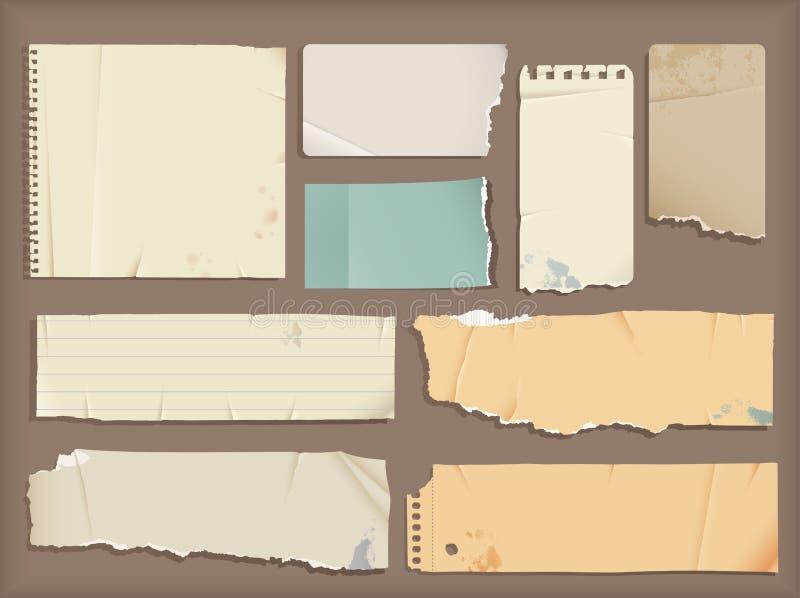 被撕毁的纸张 库存例证