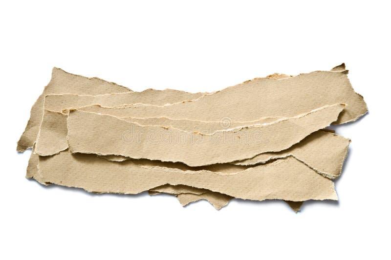 被撕毁的纸板料 库存图片