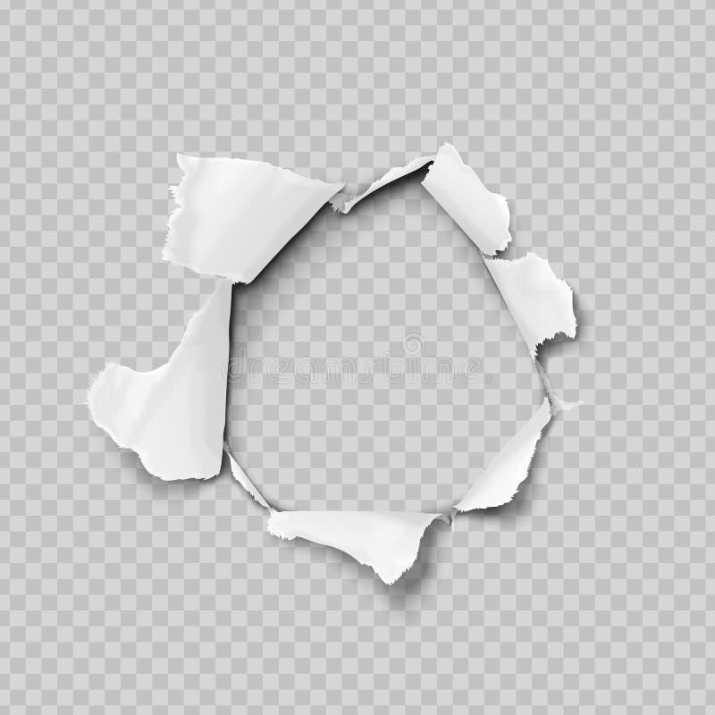 被撕毁的纸现实,在纸片的孔在透明背景的 向量例证