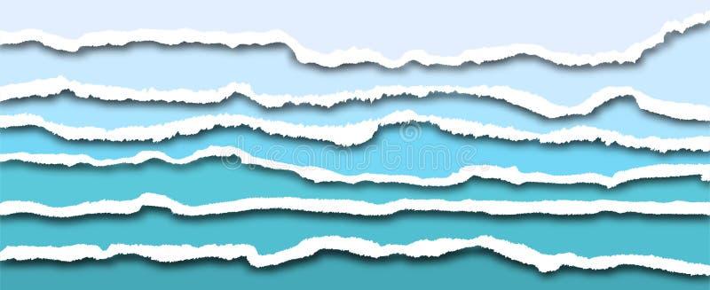 被撕毁的纸的边缘,导航现实水平地被剥去的纸 向量例证