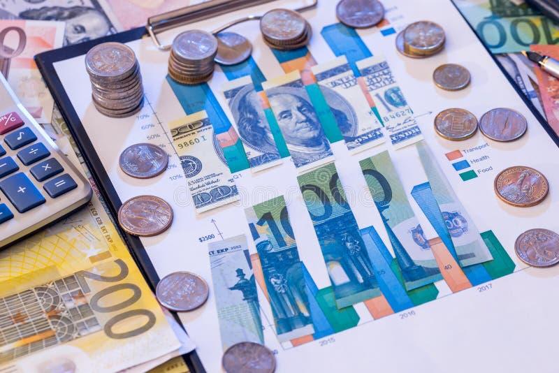 被撕毁的美元和欧元票据 免版税库存照片