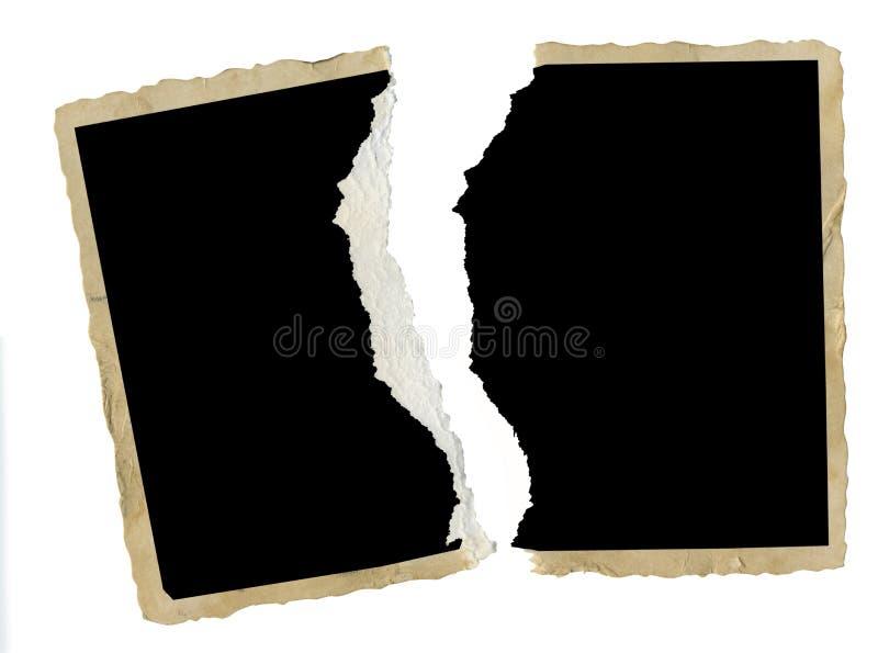 被撕毁的老空白的photgraph,画框,离婚,矛盾, 图库摄影