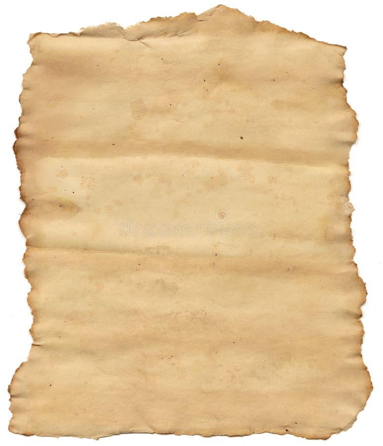 被撕毁的老纸张 免版税库存照片