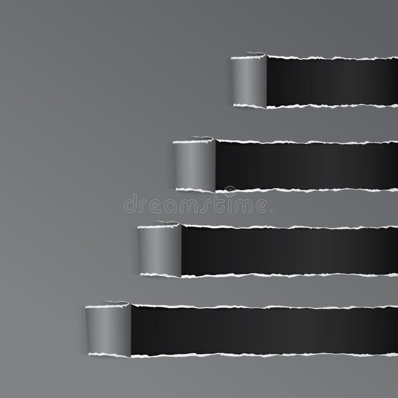 被撕毁的黑被包裹的弯曲的纸灰色拷贝空间 皇族释放例证