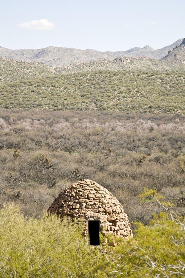 被放弃的亚利桑那沙漠行业烤箱s 免版税库存照片