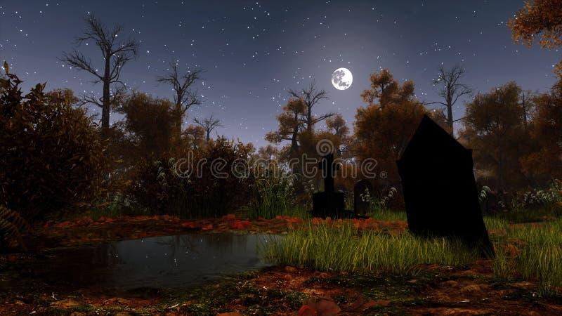 被放弃的公墓在鬼的夜森林里 库存例证
