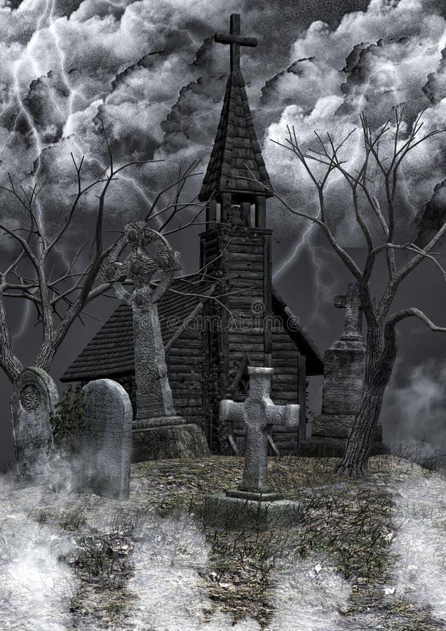 被放弃的公墓背景 库存例证