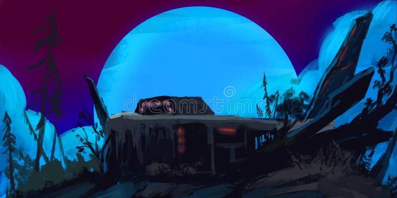 被放弃的军事基地在黑暗的森林里 库存例证