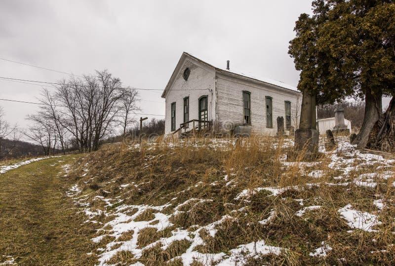 被放弃的农村教会-西南宾夕法尼亚 库存照片