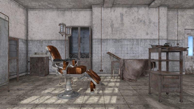 被放弃的医院3D CG翻译  库存例证