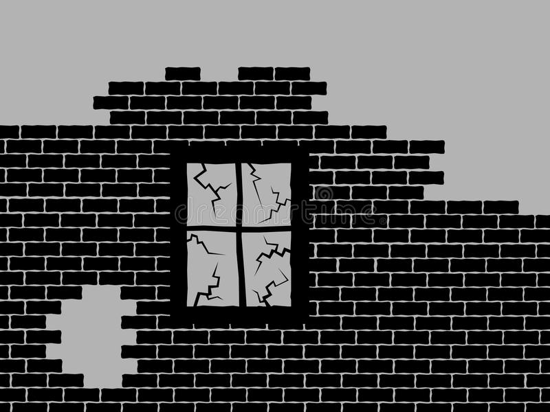 被放弃的和derelect房子墙壁  皇族释放例证