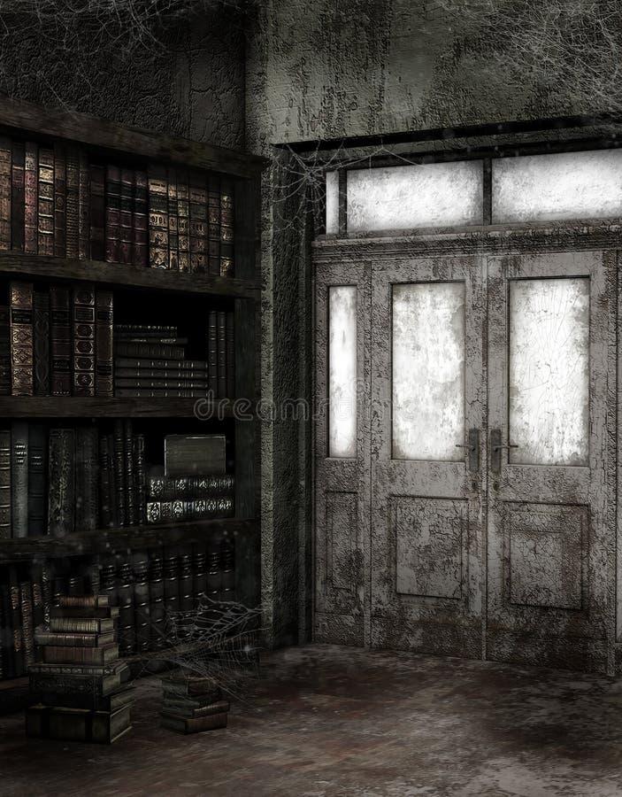被放弃的图书馆 皇族释放例证
