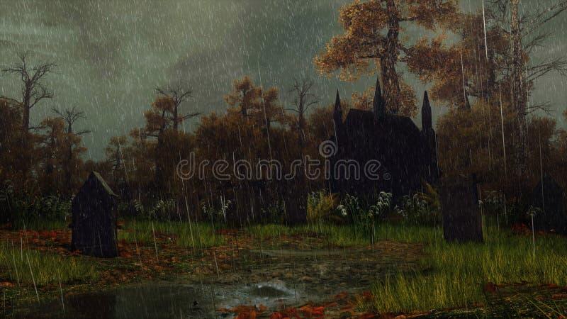 被放弃的坟园在秋天森林里在雨中 库存例证