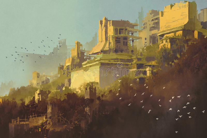 被放弃的大厦在日落的未来派城市 库存例证