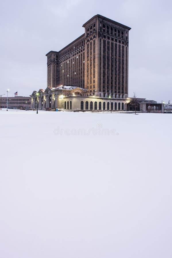 被放弃的密执安中央驻地在底特律 库存图片