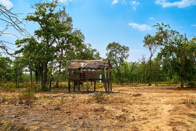 被放弃的小屋房子在桔井,柬埔寨北部的沙漠 库存图片