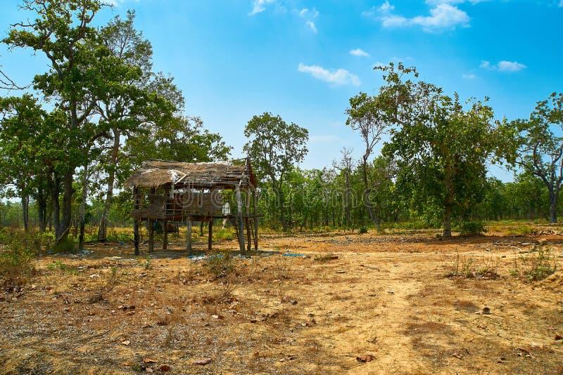 被放弃的小屋房子在桔井,柬埔寨北部的沙漠 免版税图库摄影