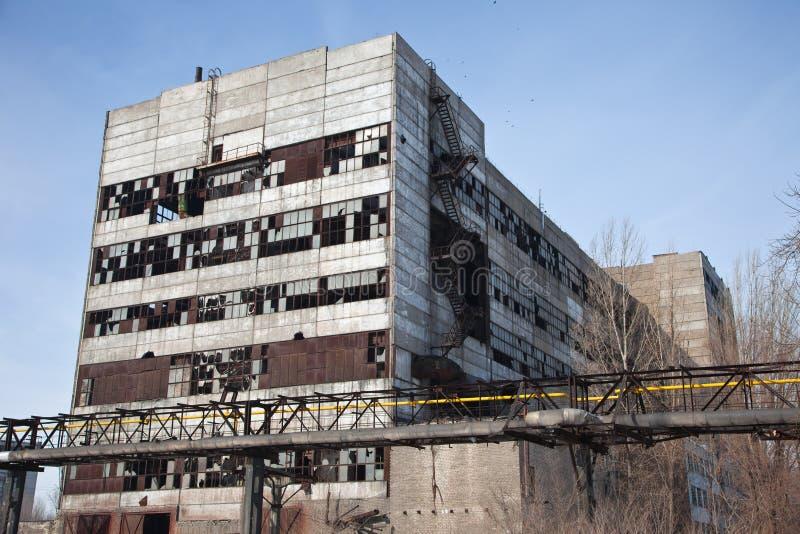 被放弃的工厂行业废墟 免版税库存图片