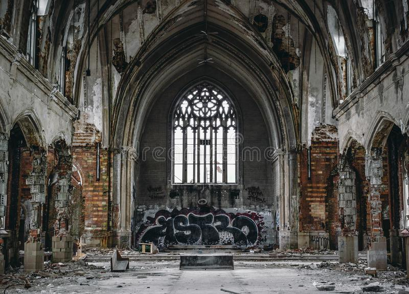 被放弃的教会 库存图片