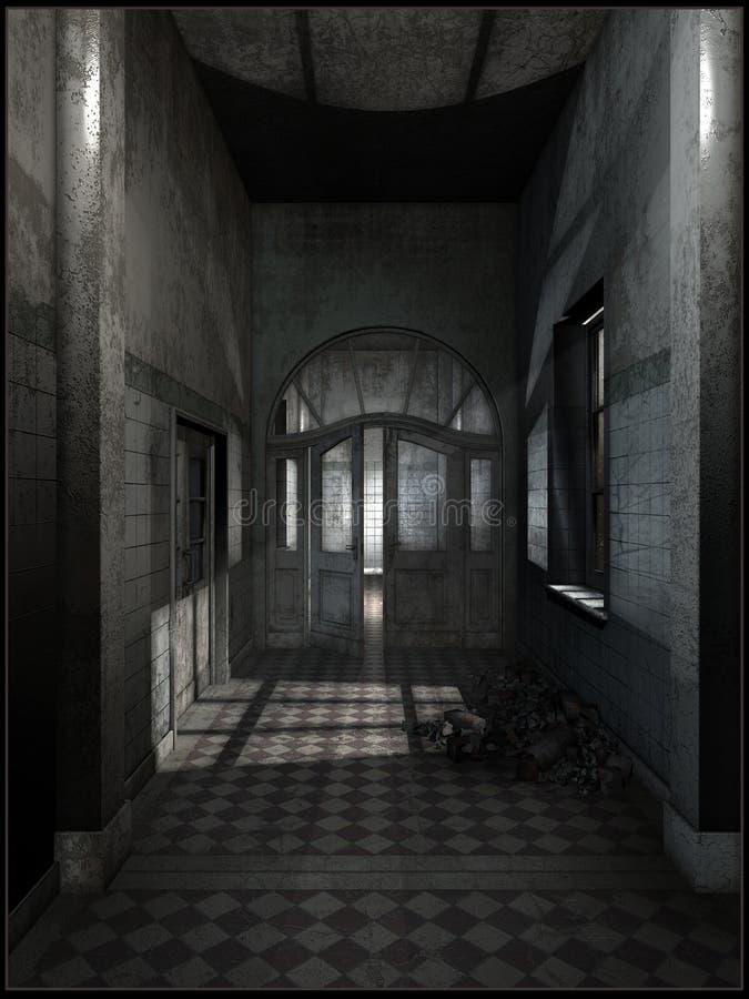 被放弃的旅馆走廊 向量例证