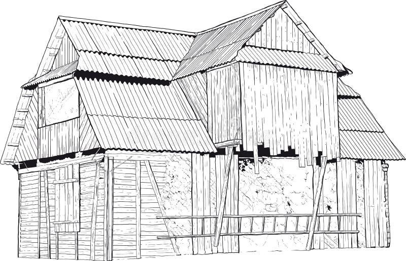 被放弃的木房子 向量例证