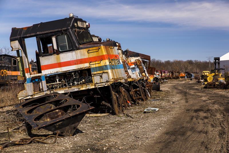 被放弃的机车-火车-俄亥俄 免版税库存照片