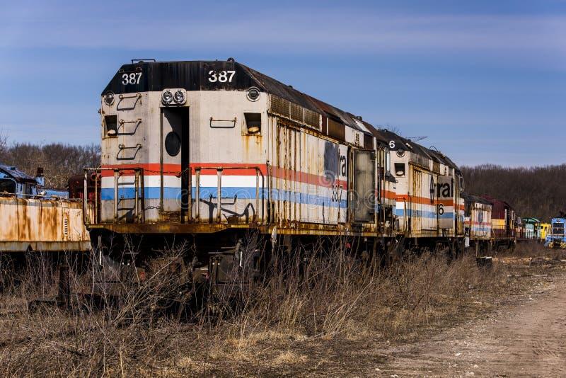 被放弃的机车-火车-俄亥俄 免版税图库摄影