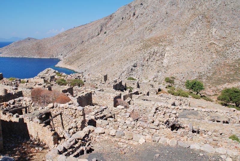 被放弃的格拉村庄,蒂洛斯岛海岛 免版税库存照片