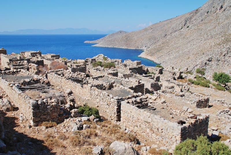 被放弃的格拉村庄,蒂洛斯岛 免版税库存图片