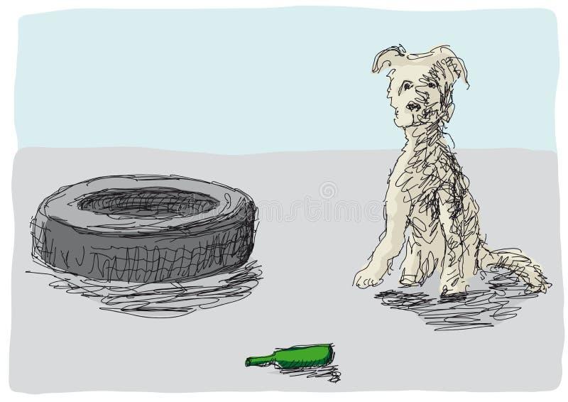 被放弃的狗 向量例证