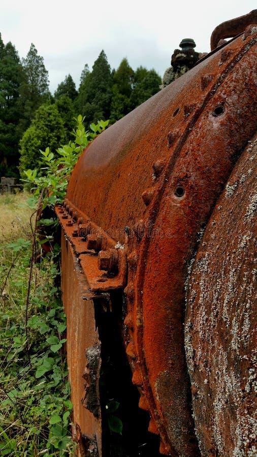 被放弃的生锈的机械在新西兰森林里 库存照片
