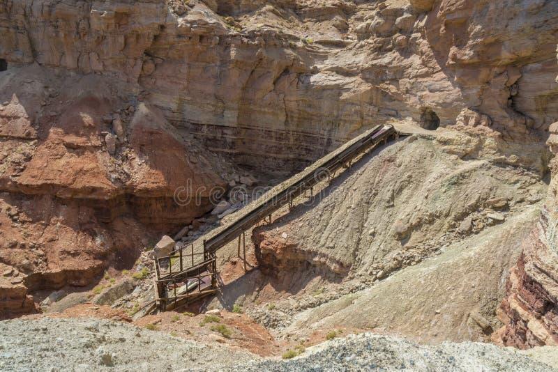 被放弃的肮脏的恶魔铀矿在犹他 库存照片