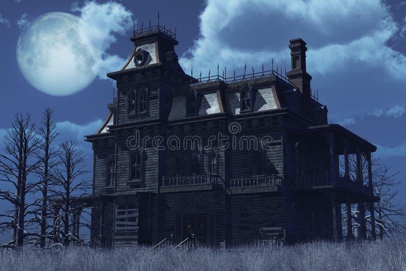 被放弃的被困扰的房子月光 库存例证