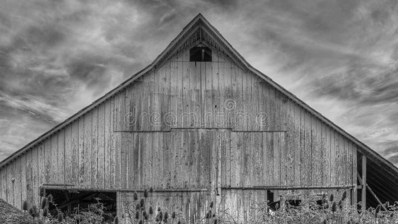 被放弃的谷仓,黑白图象 免版税图库摄影
