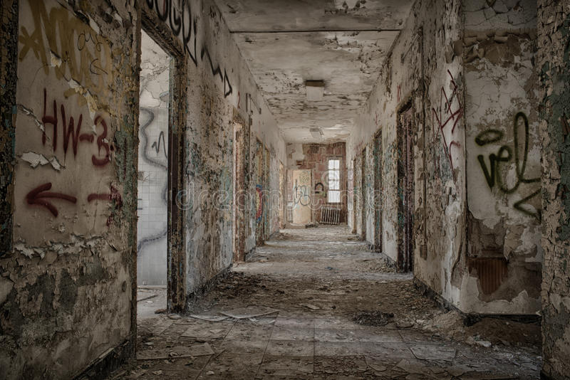 被放弃的走廊 库存照片